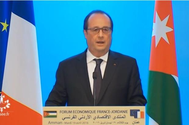 François Hollande lors de son discours dans le cadre du Forum Economique France-Jordanie qui a eu lieu à Amman en Jordanie le 19 avril 2016 - Capture écran