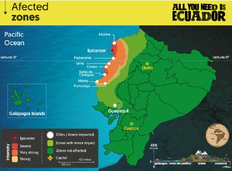 La carte des zones touchées par le séisme en Equateur - DR