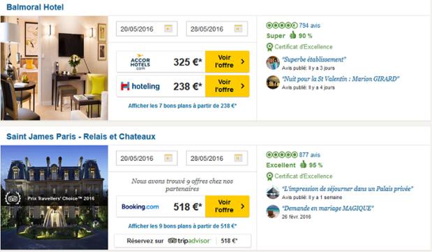 La réservation instantanée sur TripAdvisor n'est pas encore possible pour tous les hôtels du site - Capture d'écran