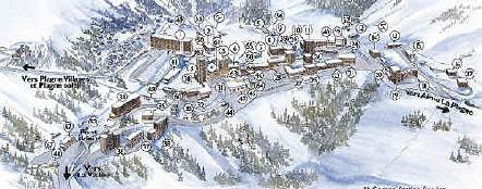 Plan du centre de la station Belle Plagne