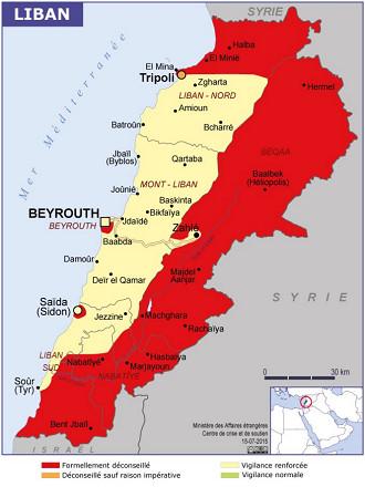 La carte des restrictions du Quai d'Orsay pour le Liban - DR : Conseils aux Voyageurs
