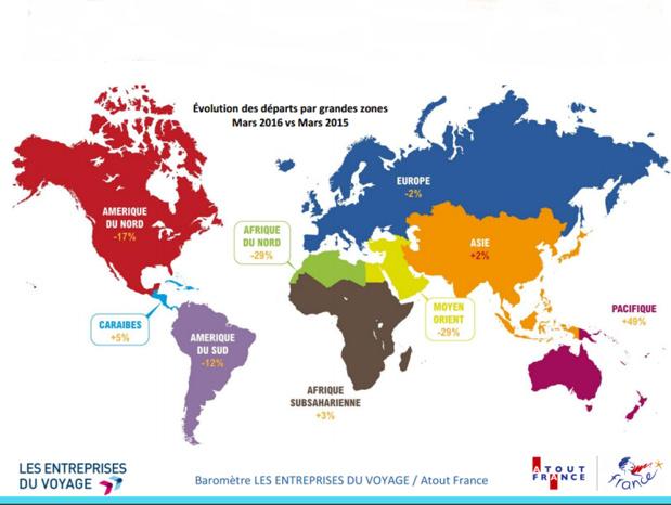 Les tendances des départs en mars 2016 - Baromètre Les Entreprises du Voyage / Atout France