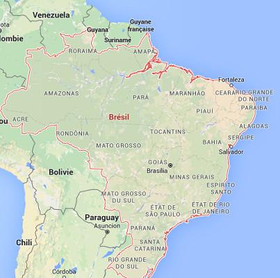 Le Brésil publie ses chiffres de fréquentation touristique internationale en 2015 - DR : Google Maps