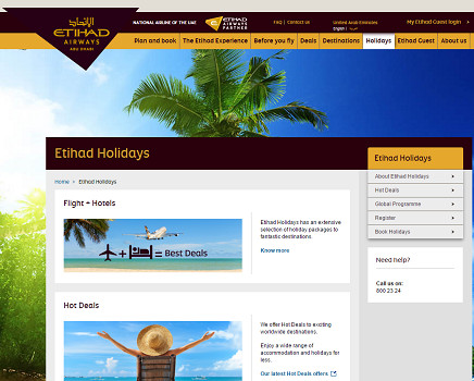 Etihad Holidays est la filiale loisirs d'Etihad Airways - Capture d'écran