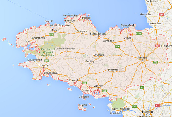 The French are choosing Bretagne for their travels in May 2016 - DR : Google Maps