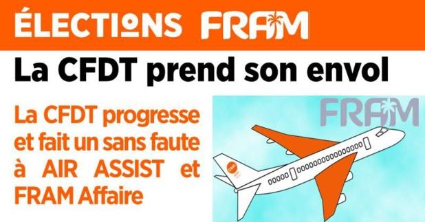 La CFDT est satisfaite de ses résultats aux élections professionnelles chez FRAM SAS, FRAM Affaire et Air Assist - DR : CFDT