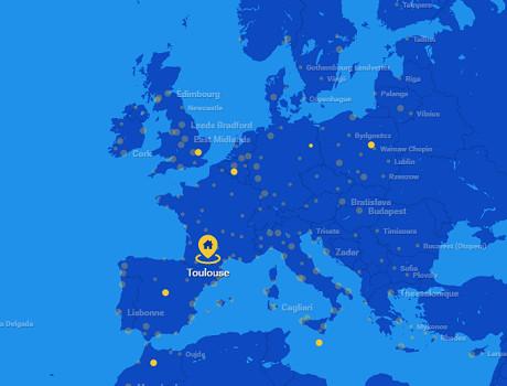 Le réseau de Ryanair au départ de Toulouse pour l'Hiver 2016/2017 - DR : Ryanair