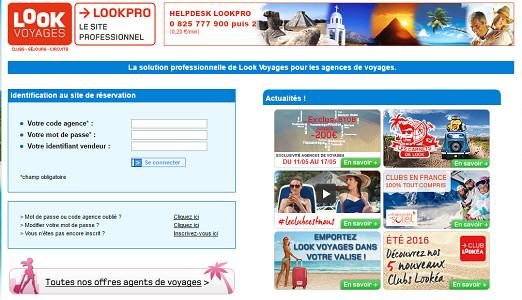 """Les réductions de l'opération """"Les Exclus du B to B"""" de Look Voyages sont accessibles sur le site pro de Look Voyages - Capture d'écran"""