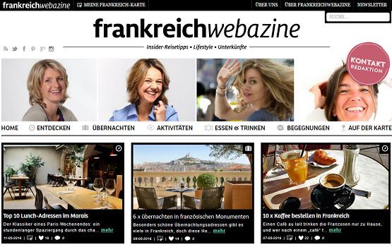 Frankreich Webazine est à mi-chemin entre un site Internet et un magazine en ligne - Capture d'écran