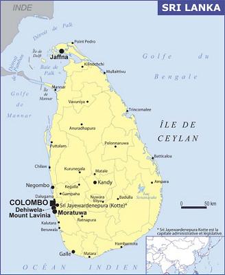 La carte du Sri Lanka dans les Conseils aux Voyageurs du ministère des Affaires étrangères - DR : Conseils aux Voyageurs