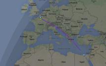 La visualisation du trajet du vol MS804 sur le site flightradar24.com - Capture écran