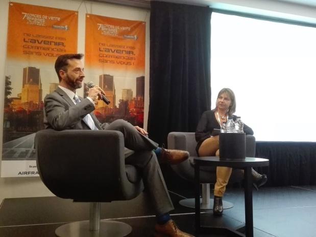 Claudio Gubitasa, vice-président Solution Clients de Vision Travel, et Patricia Morosini, directrice du voyage d'affaires chez Selectour Afat - Photo : P.C.