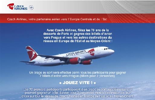 Czech Airlines fait gagner des billets aux agents de voyages