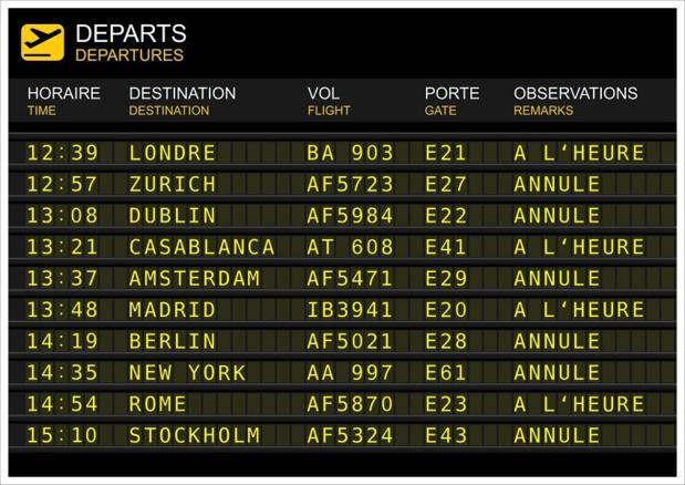 Les compagnies aériennes mettent à jour, en temps, réel les statuts de leurs vols programmés jeudi 26 mai 2016, en France - DR : sablin-Fotolia.com