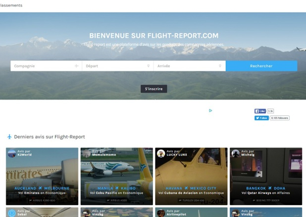 La nouvelle interface du site d'avis aériens Flight Report - DR : Flight Report