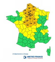 La carte publiée par Météo France sur son site Internet - DR Météo France