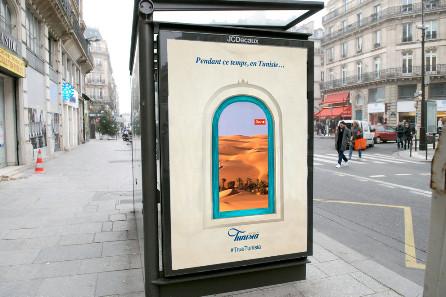 La campagne de l'ONTT est diffusée par des écrans connectés installés dans des abribus - Photo : ONTT