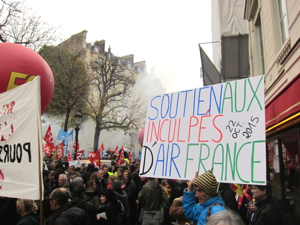 Une manifestation d'Air France en octobre 2015. DR LAC