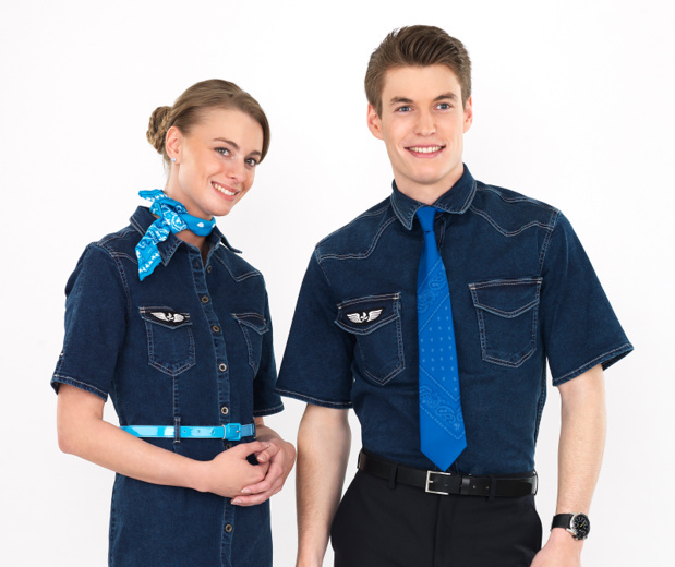 Les uniformes des hôtesses et stewards de French blue - Photo French Blue