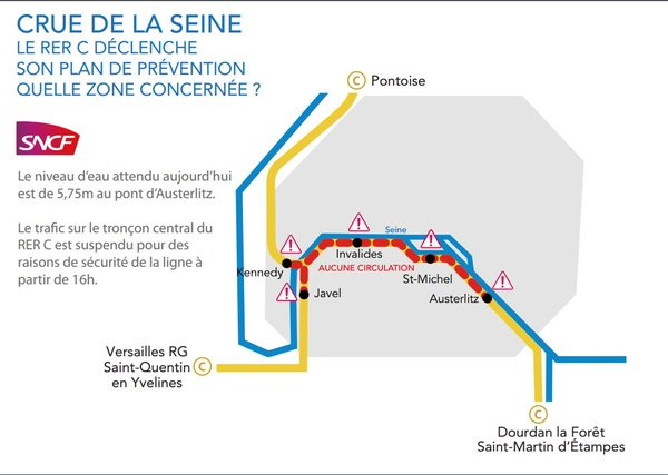 Paris : le trafic intra-muros du RER C stoppé dès 16h ce jeudi