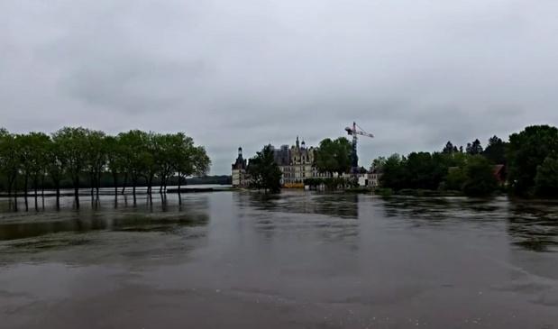^Le domaine du Château de Chambord a été inondé - DR : Facebook