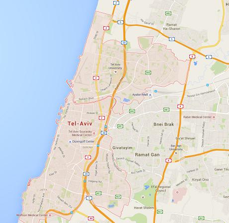 L'attaque a eu lieu à Tel Aviv vers 21h30 jeudi 8 juin 2016 - DR : Google Maps