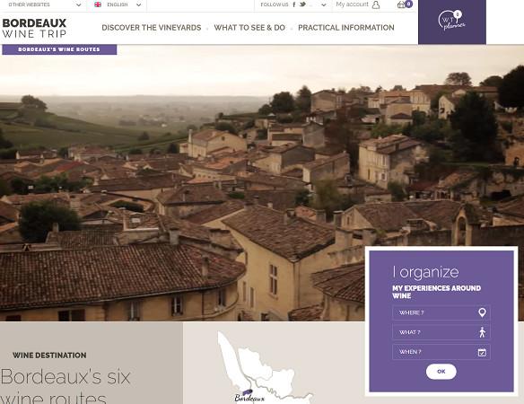 BordeauxWineTrip permet de trouver des informations sur l'oenotourisme en Bordelais mais aussi de réserver des visites et des circuits dans le vignoble - Capture d'écran