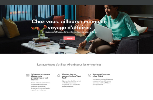 10% des réservations sur Airbnb sont liées au business travel (c) capture Airbnb.fr/business-travel