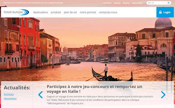 L'italie est aussi mise à l'honneur sur le site Internet de Travel Europe - Capture d'écran