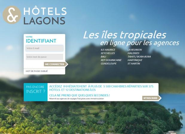 La site pour les agences de voyages Hotels & Lagons - Capture écran