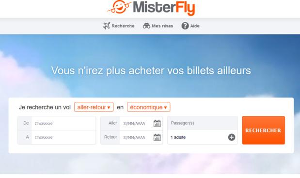 Le moteur de vols de MisterFly intègre désormais en machine 22 nouvelles compagnies aériennes - Capture Ecran