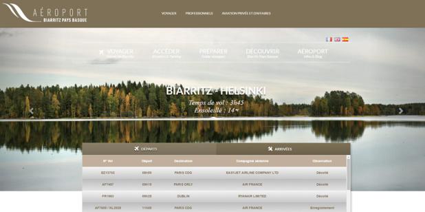 La nouvelle version du site Internet de l'aéroport Biarritz-Pays Basque - Capture d'écran