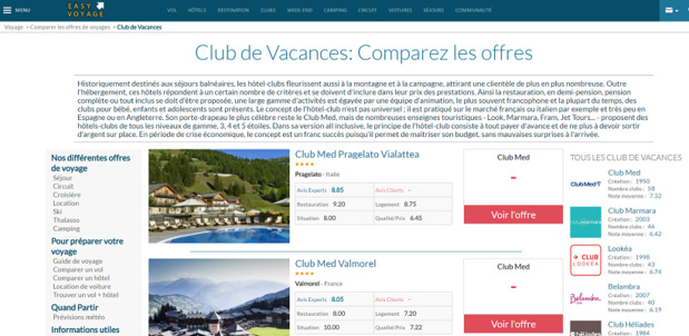 Le comparateur de clubs d'EasyVoyage est en ligne - Capture d'écran
