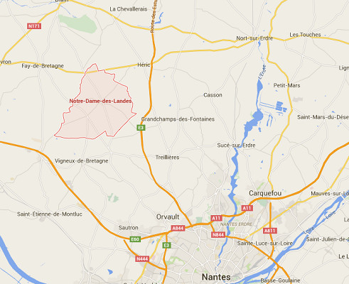 Notre-Dame-des-Landes est un village situé au Nord-Ouest de Nantes, en Loire-Atlantique - DR : Google Maps