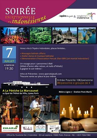 L'Office de Tourisme de l'Indonésie donne rdv pour son apéro le 7 juillet 2016 - DR