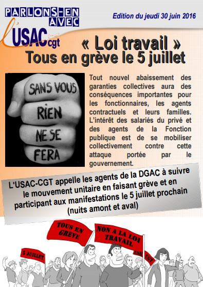 Le tract de l'USAC-CGT pour appeler les agents de la DGAC à la grève mardi 5 juillet 2016 - DR : USAC-CGT