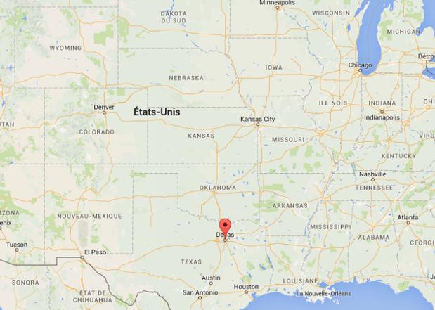 Les autorités américaines ont fermé l'espace aérien au-dessus de Dallas, dans le Texas - DR : Google Maps