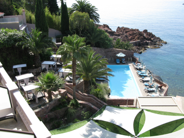 View of pool and sea from the Miramar Beach Hotel & Spa Hotel