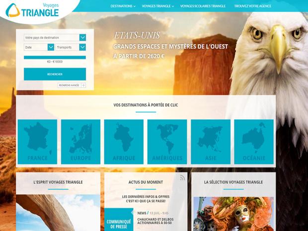 Capture d'écran du site Internet de Voyages Triangle