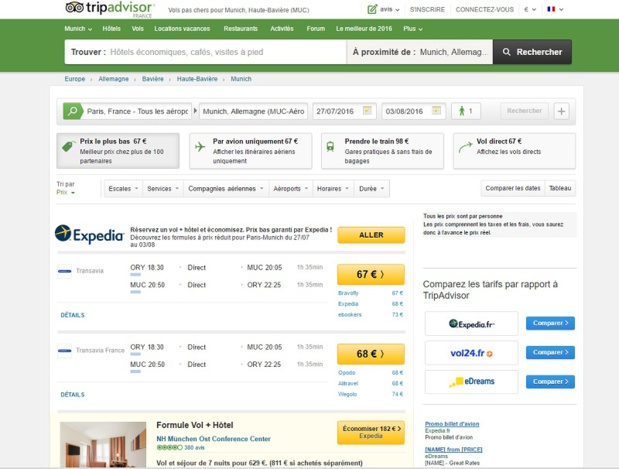 Les voyageurs peuvent partager leur expérience de vol avec les internautes sur TripAdvisor (c) capture d'écran TripAdvisor