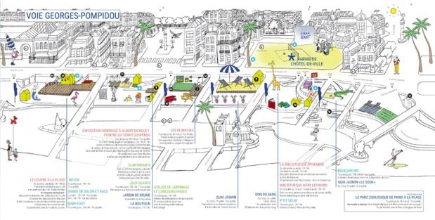 """La Voie Georges Pompidou est renommée """"Quai Jasmin"""" pendant 5 jours - DR : Paris Plages"""