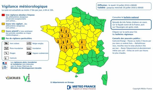 Carte de vigilance Météo France