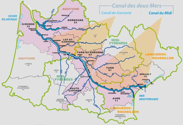 La carte du réseau du Canal du Midi - DR