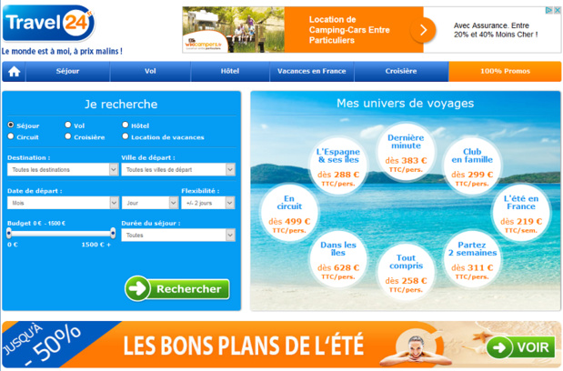 Le site Travel24 en version française - DR Capture écran
