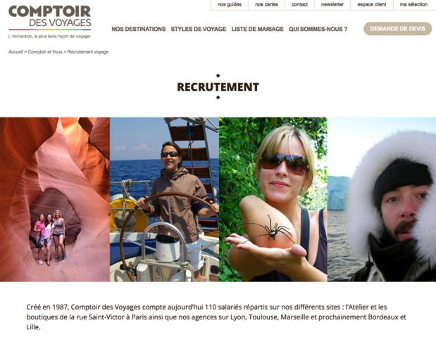 Comptoir des Voyages dispose d'une rubrique sur son site dédiée au recrutement - Capture écran