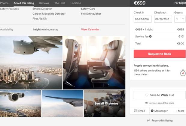La compagnie aérienne n'hésite pas à trouver de nouvelles idées pour séduire les voyageurs et ainsi brader ses sièges (c) Capture Airbnb.de