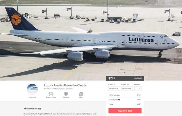 Lufthansa va mettre en vente ses sièges « premium Economy » sur Airbnb. Non, c'est pas une blague, bien que, pour le moment, tout ceci ne concerne que le marché allemand - DR : Capture d'écran Airbnb