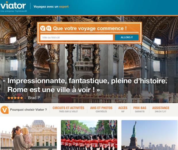 Le site web de Viator - DR