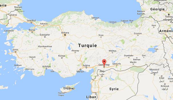 L'attentat a eu lieu à Gaziantep dans le Sud-Est de la Turquie - DR : Google Maps