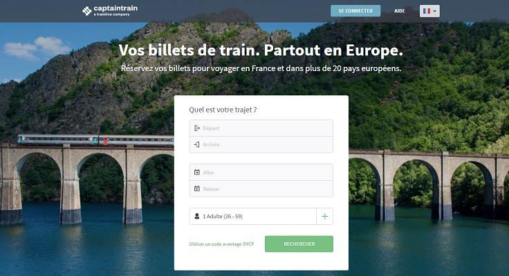 Captain Train est une agence de voyages en ligne spécialisée dans la vente de billets de train - Capture d'écran